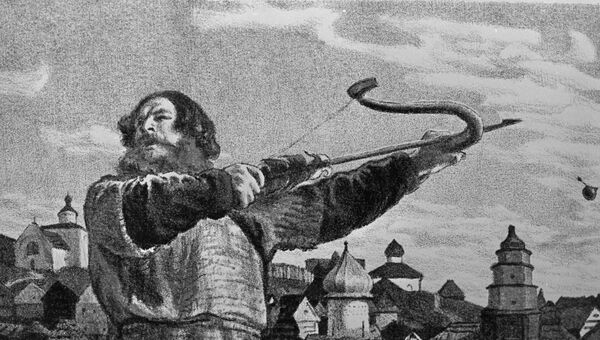 Евгений Кибрик. Илья Муромец в ссоре с князем Владимиром. Архивное изображение