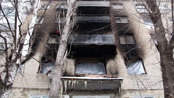 Жилой дом в Ленинском районе Саратова, где 11 января произошел взрыв бытового газа с последующим возгоранием. 12 января 2017