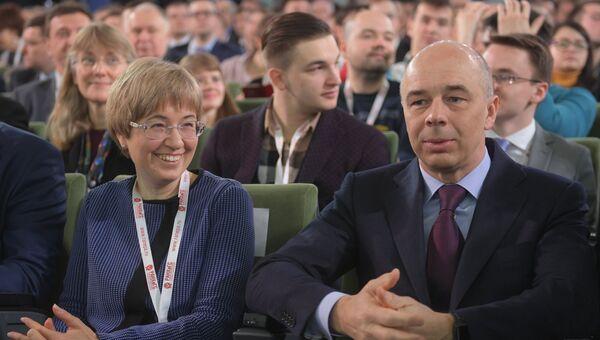 Первый заместитель председателя Банка России Ксения Юдаева и министр финансов РФ Антон Силуанов на VIII Гайдаровском форуме. 13 января 2017