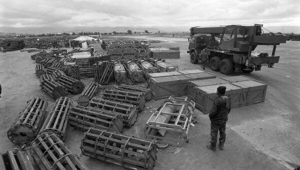 Площадка для боеприпасов на авиабазе Хмеймим. Сирия,  04.01.2016