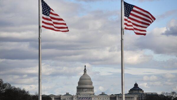 Вид на Капитолий в в Вашингтоне. Архивное Фото.