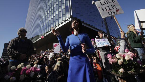 Женский марш против Трампа в Лос-Анджелесе. 21 января 2017 год