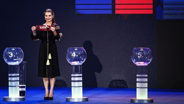 Ведущая на церемонии жеребьевки международного конкурса Евровидение-2017 в Киеве