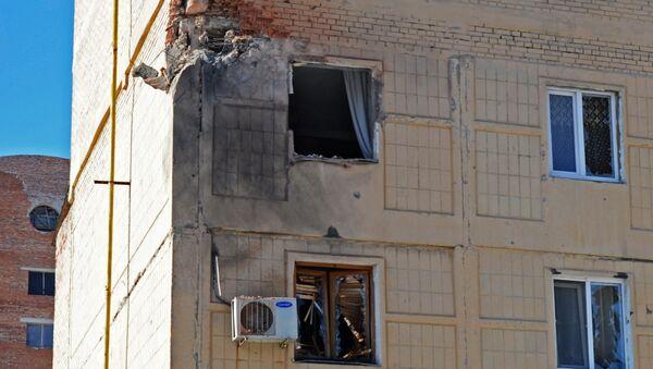 Жилое здание на улице Листопрокатчиков в Киевском районе Донецка, пострадавшее от обстрела