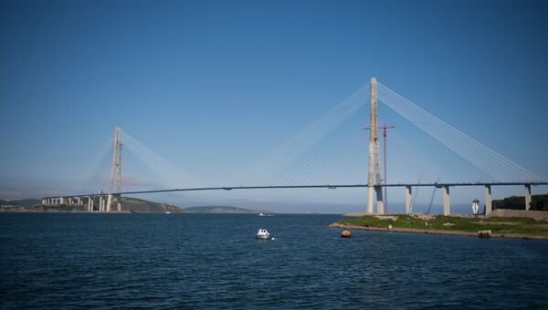 Вантовый Русский мост во Владивостоке через пролив Босфор Восточный, соединяет полуостров Назимова с мысом Новосильского на острове Русском