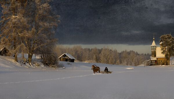 Кенозерский национальный парк. Деревня Глазово зимой