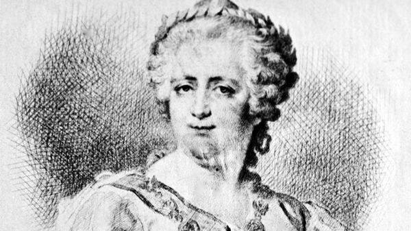Екатерина II (1729 - 1796). Гравюра - заметка В. Боброва на портрете Петра I с картины Д. Левицкого из коллекции Государственного исторического музея.