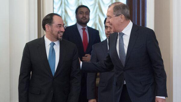 Министр иностранных дел РФ Сергей Лавров и министр иностранных дел Афганистана Салахуддин Раббани во время встречи в Москве. 7 февраля 2017