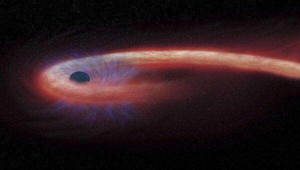Так художник представил себе супер-прожорливую черную дыру в созвездии Девы