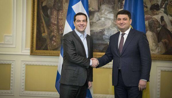 Встреча премьера Греции Алексиса Ципраса с премьером Украины Владимиром Гройсманом в Киеве