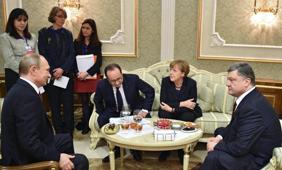 Переговоры лидеров России, Германии, Франции и Украины в Минске. 11 февраля 2015