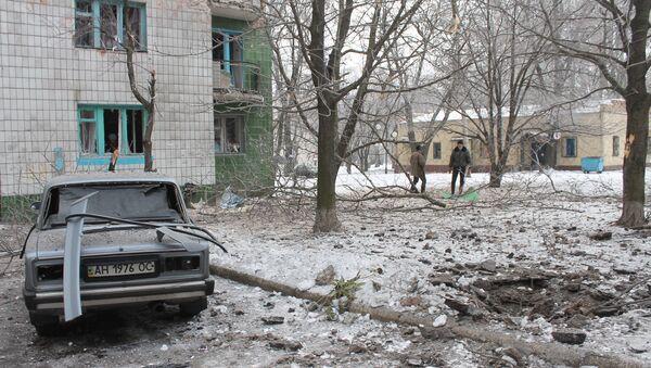 Жилой дом в Донецке, пострадавший от ночного обстрела. Архивное фото