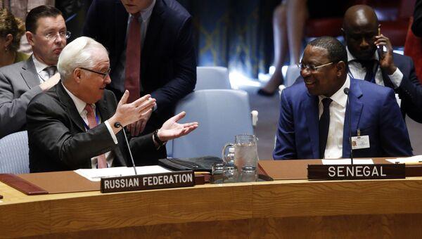 Постоянный представитель России при ООН Виталий Чуркин и министр иностранных дел Сенегала Манкур Ндиайе перед началом заседания Совета Безопасности