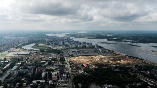 Строительная площадка стадиона Нижний Новгород, строящегося к чемпионату мира по футболу 2018 года в Нижнем Новгороде