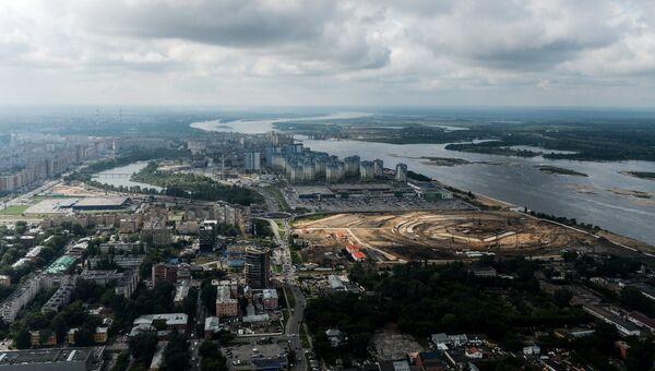 Строительная площадка стадиона Нижний Новгород, строящегося к чемпионату мира по футболу 2018 года в Нижнем Новгороде. Архивное фото