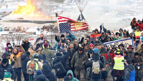 Протесты против строительства нефтепровода в Северной Дакоте