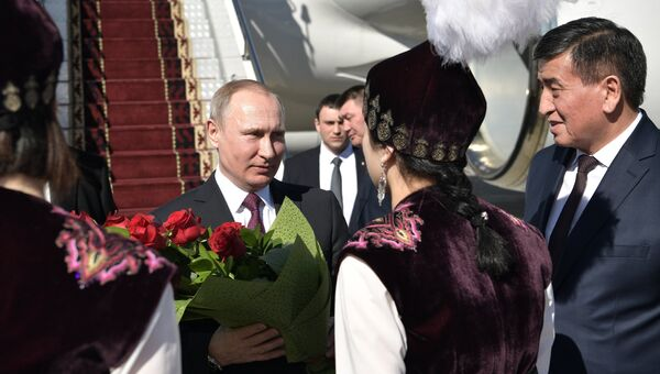 Президент РФ Владимир Путин во время встречи в аэропорту Манас в Бишкеке. 28 февраля 2017