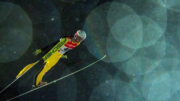 Евгений Климов (Россия) в квалификации соревнований по прыжкам с большого трамплина среди мужчин на чемпионате мира по лыжным видам спорта Lahti2017 в финском Лахти