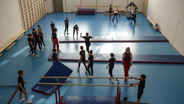 Школьники во время урока в гимнастическом зале. Архивное фото