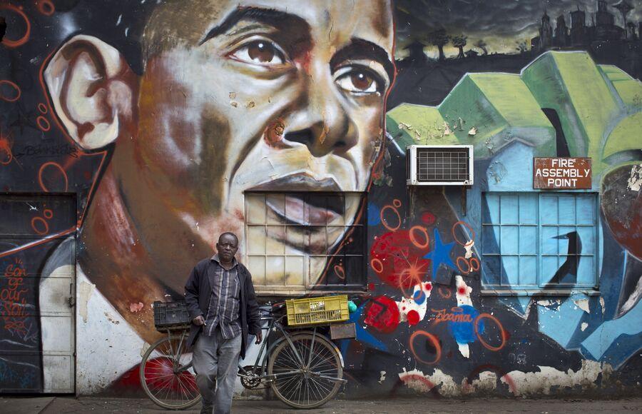 Граффити с изображение Барака Обамы в Найроби, Кения