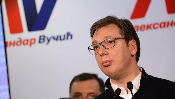 Александр Вучич в предвыборном штабе в Белграде