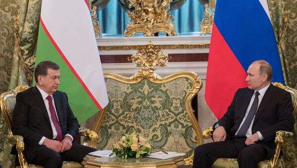 Президент РФ Владимир Путин и президент Узбекистана Шавкат Мирзиеев во время встречи. 5 апреля 2017