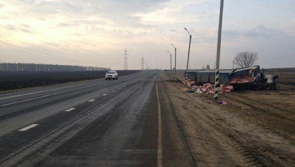 На месте ДТП на трассе Москва-Астрахань с участием автобуса и грузовика. 6 апреля 2017