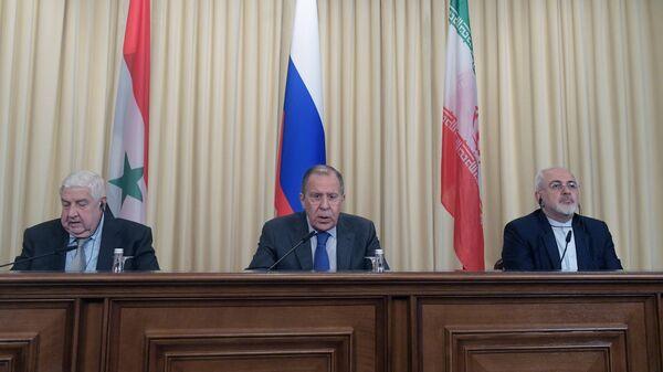 Пресс-конференция глав МИД России, Ирана и Сирии Сергея Лаврова, Мухаммада Зарифа и Валида Муаллема.