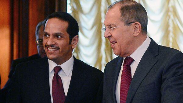 Встреча глав МИД России и Катара С. Лаврова и М. Аль Тани