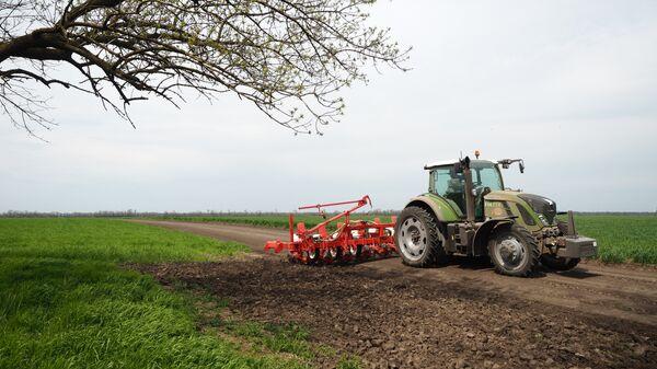 Подготовка к посеву подсолнечника во время посевной и весенних полевых работ на полях АО Агрообъединение Кубань в Краснодарском крае