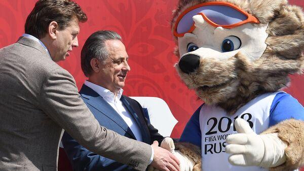 Николай Гуляев, Виталий Мутко и официальный талисман чемпионата мира 2018 года волк Забивака на церемонии открытия Парка Кубка Конфедераций 2017