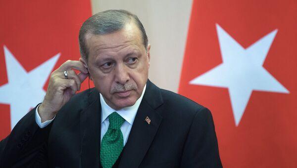 Президент Турции Реджеп Тайип Эрдоган во время совместной пресс-конференции по итогам встречи с президентом РФ Владимиром Путиным. 3 мая 2017