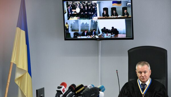 Судья на заседании Оболонского районного суда Киева, где рассматривается дело Виктора Януковича. 4 мая 2017