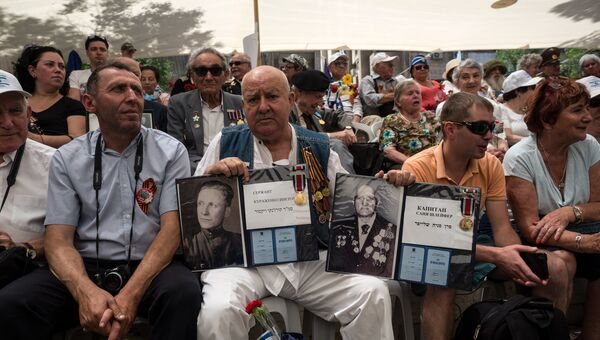 Участники парада Победы и акции Бессмертный полк в Иерусалиме