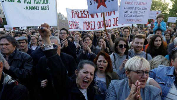 Митинг протеста против действий президента Милоша Земана, а также вице-премьера и главы минфина Андрея Бабиша в Праге