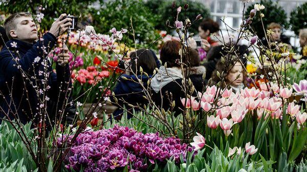 Посетители в Аптекарском огороде Ботанического сада МГУ. Архивное фото
