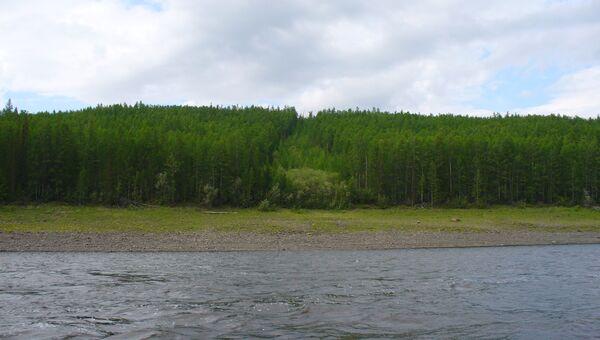 Оползень на берегу реки Нижняя Тунгуска 1972 года