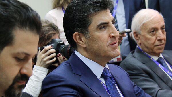Премьер-министр Курдского автономного района Ирака Нечирван Барзани во время встречи с Сергеем Лавровым на Петербургском экономическом форуме 2017