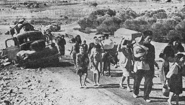 Беженцы на дорогах оккупированных Израилем арабских территорий. Шестидневная война 1967 года