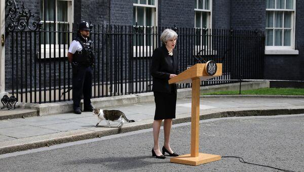 Премьер-министр Великобритании Тереза Мэй во время официального заявления на Даунинг-стрит в связи с терактами в Лондоне. 4 июня 2017