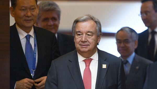 Генсек ООН Антониу Гутерриш перед заседанием совета глав государств - членов ШОС. 9 июня 2017