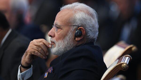 Премьер-министр Индии Нарендра Моди на саммите ШОС в Астане. 9 июня 2017