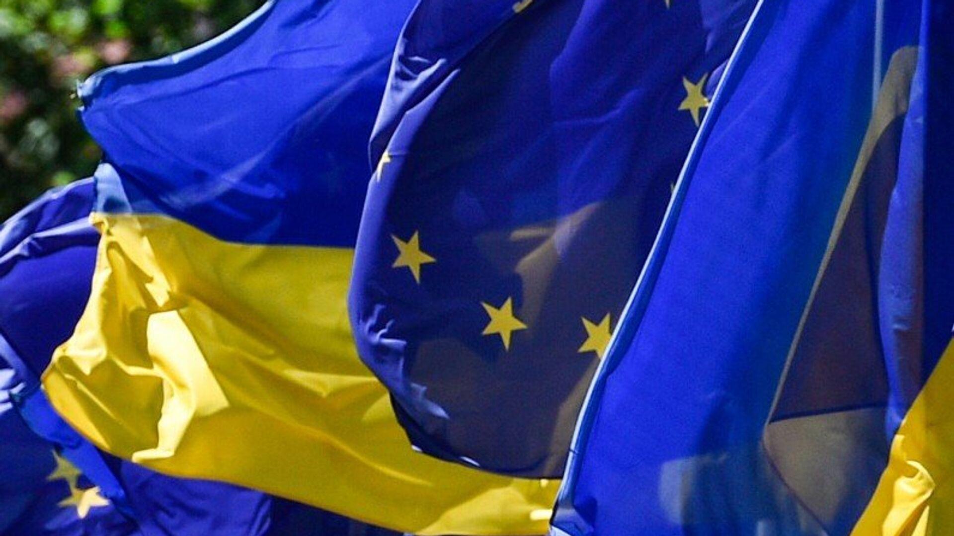 Флаги Украины и Евросоюза - РИА Новости, 1920, 11.09.2021