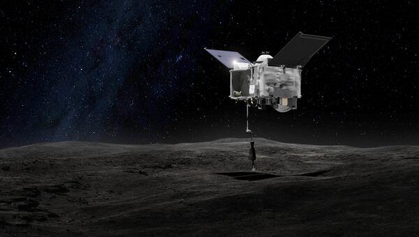 Иллюстрация художника, на которой изображена межпланетная станция OSIRIS-REx, предназначенная для доставки образцов грунта с астероида (101955) Бенну.