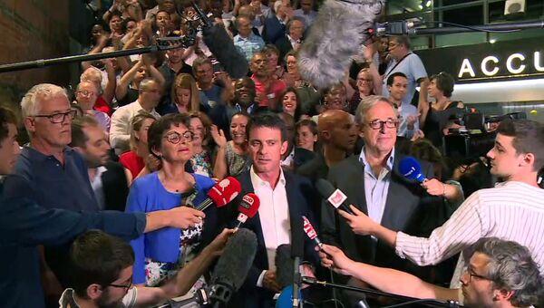 Выступление Эссонне Мануэль Вальс после объявления результатов второго раунда Французских парламентских выборов. 19 июня 2017