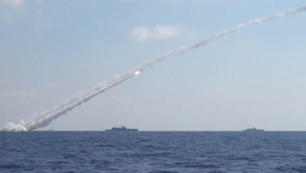 Удар Калибров по объектам ИГ* (группировка Исламское государство, запрещена в РФ) в Сирии