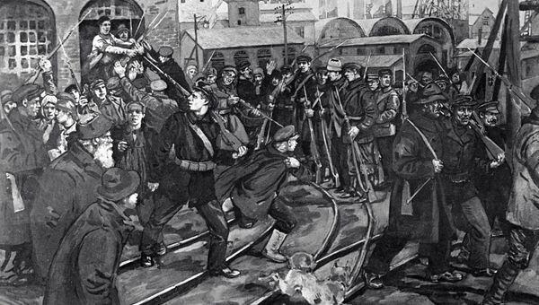 Репродукция картины Н. И. Шестопалова Вооружение рабочих в дни корниловского мятеж