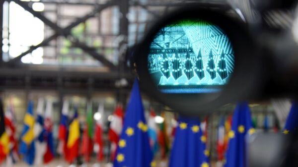 Флаги правительств стран-участниц Европейского союза в Брюсселе. Архивное фото