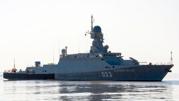 Малый ракетный корабль в Каспийском море. Архивное фото