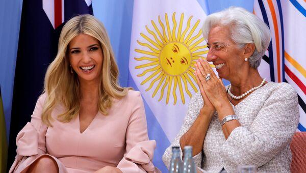 Дочь президента США Иванка Трамп и глава МВФ Кристин Лагард на саммите G20 в Гамбурге, Германия. 8 июля 2017